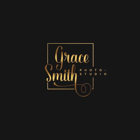 Custom Logo for Photographer, Square Logo, Gold Business Logo, Feminine Logo, Elegant Logo, Script logo, Fashion Blog Logo, Gold Foil Logo