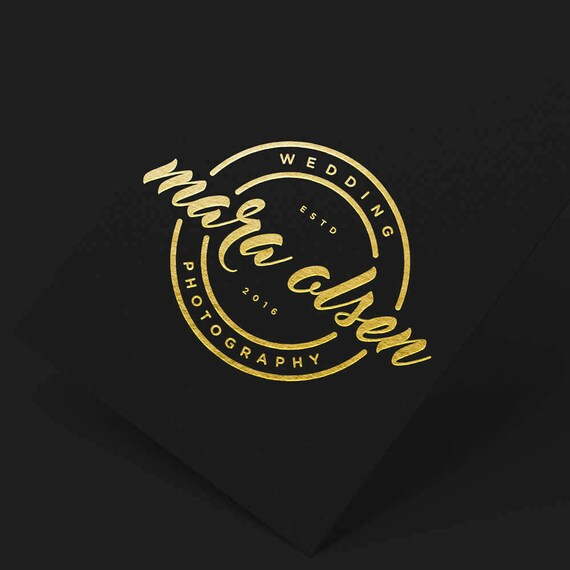 Elegant Wedding Logo, Wedding Logo Branding, Calligraphy Logo, Stamp Logo, Gold Business Logo, Modern logo, Circle Logo, Gold Blog Logo