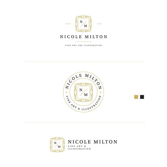 Classic Logo, Fine Art Logo, Fashion Blog Logo, Elegant Logo, Artist Logo, Gold Blog logo, Logo, Custom Boutique Logo, Creative Logo Design