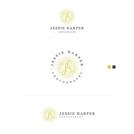 Calligraphy Logo, Gold Foil Logo, Watermark Logo, Splash logo, Elegant Logo, Gold Glitter Logo, Blog Logos, Circle Logo, Handwritten Logo
