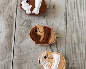 Guinea Pig - Hair clip - snap clip - cute - feltie - pet - girls hair clip - animal - fun - Barrette - Bendie Clip - Gift - Hair accessory