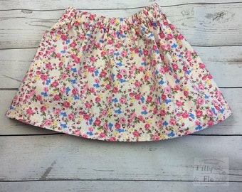 Pretty floral - cotton skirt - pink flowers - 100% cotton - age 2-3 - age 3-4 - summer skirt - tilly and flo - party skirt - toddler skirt