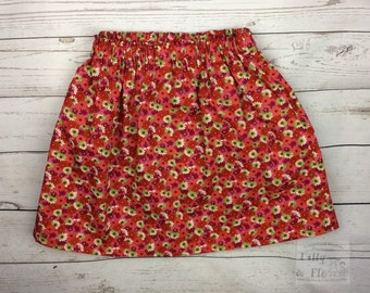 Red and pink floral cotton skirt (age 4-5)