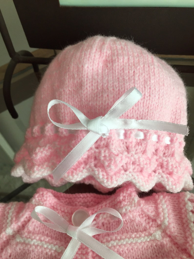 leggings Hand knitted baby set with sweatercardigan booties and hat