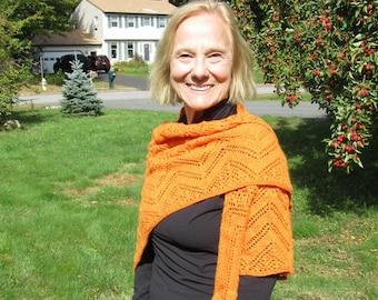 Hand knit 100% cashmere lace wrap shawl: orange, tangerine