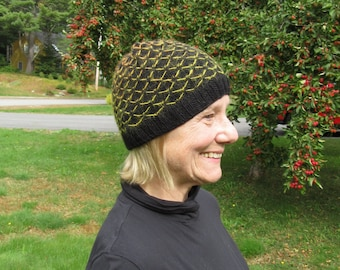 Black Wool Hat Hand Knit with yellow orange color change Pattern: Wool, Alpaca, and Silk