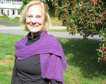 Hand knit 100% cashmere purple lace wrap