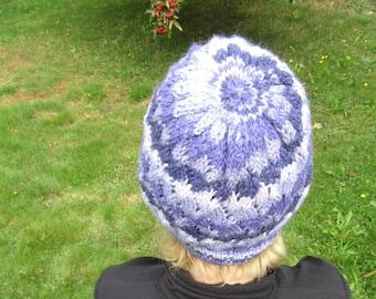 Knit Hat 100% Baby Alpaca Cable Lace purple stripes
