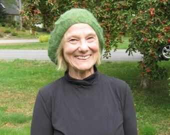 Knit Hat Lace Green Mohair + Silk Hat Leaf Motif Hand-Knit