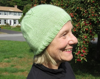 Hand knit spring green hat with leaf pattern: merino wool, cashmere, and silk