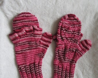 Knit Cotton Mittens Gloves Pink Tulip Glittens (fingerless gloves with mitt)