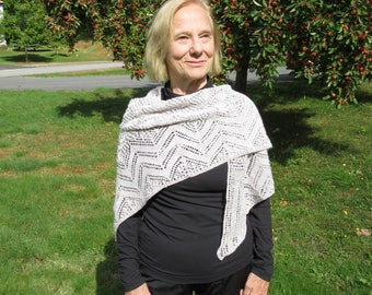Hand knit lace wrap: beautiful silvery gray color 50/50 blend of merino wool and silk