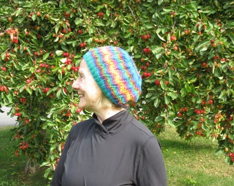 Hand knit lace hat: rainbow lace pattern, merino wool and baby alpace