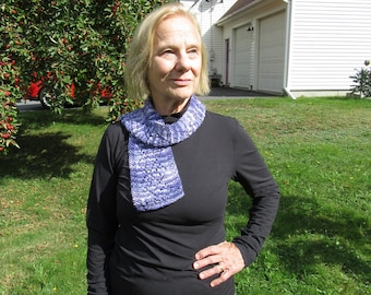 Hand knit lace scarf: purple, blue, and white 100% baby alpaca