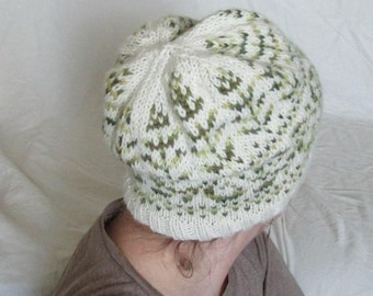 Hand knit hat white with green fair isle pattern: Merino wool, baby alpaca, and silk