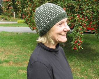 Merino Wool Forest Green Hat with white pattern - hand knit