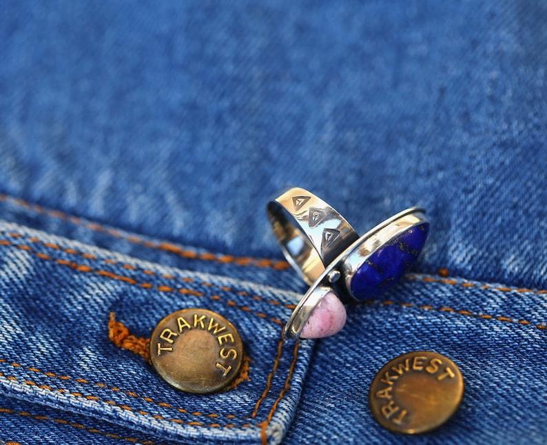 Lazurite And Rhodochrosite Silver Ring Handcrafted Lapis Lazuli And Rhodochrosite Ring Blue And Rose Stone In Silver