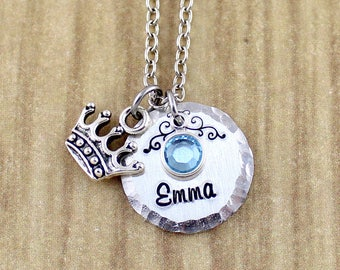 Personalized Princess Necklace • Little Girls Princess Crown Necklace • Little Girls Necklace with Name & Birthstone • Personalized Necklace