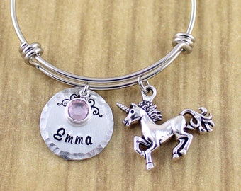 Personalized Unicorn Bracelet Little Girls Unicorn Bangle • Unicorn Birthday Gift • Unicorn Party • Ships In 48-72 Hours M-Friday