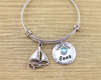 Personalized Little Girls Sailboat Jewelry - Sailboat Bracelet with Name & Birthstone - Sailboat Bangle Bracelet - Silver Adjustable Bangle