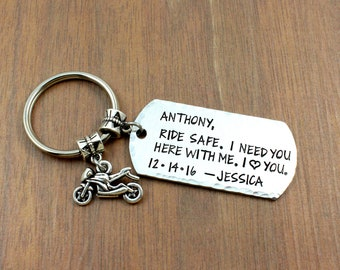 Ride Safe Personalized Motorcycle Keychain - Motorcycle Gifts For Husband ae675e7bb6