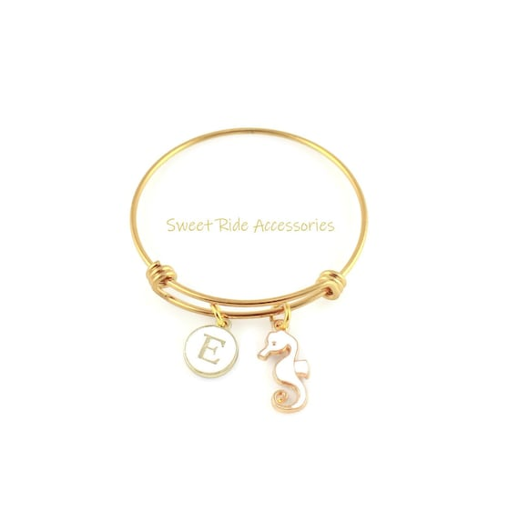 1b36c2bd43851 Personalized Little Girls Bracelet, Gold Seahorse Bracelet, Gold Charm  Bangle, Children's Gold Bangle, Seahorse Jewelry, Kids & Adult Size
