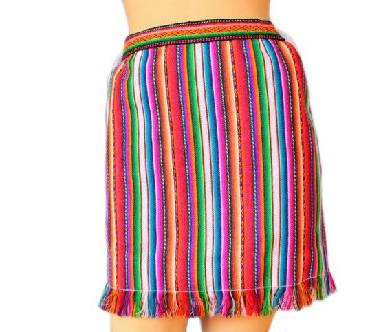 Peru Tkaniny Wysokiej Zwężone Spódnica Ołówkowa Tribal Mini Spódniczka Z Frędzlami Peruwiański Tekstylne Wielobarwne Tkane Z Tkaniny Inca