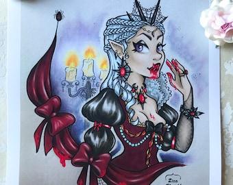 Blood Countess Bathory Art Print, Vampire Art, Dracula Art, Goth Art Prints