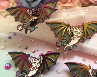 Frosted Rainbow Glow Bat Enamel Pins, Creepy Cute Bat Pins, Rainbow Enamel Pins, Glow in the Dark Pins, Pastel Goth Pins