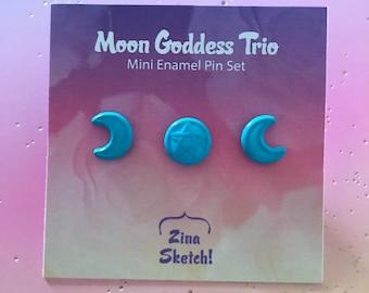 Triple Moon Goddess Mini Pin Set, Filler Pins, Pastel Goth Pins, Creepy Cute Pins, Witchy Pins, Halloween Pins, Spoopy Pins, Pentagram Pins