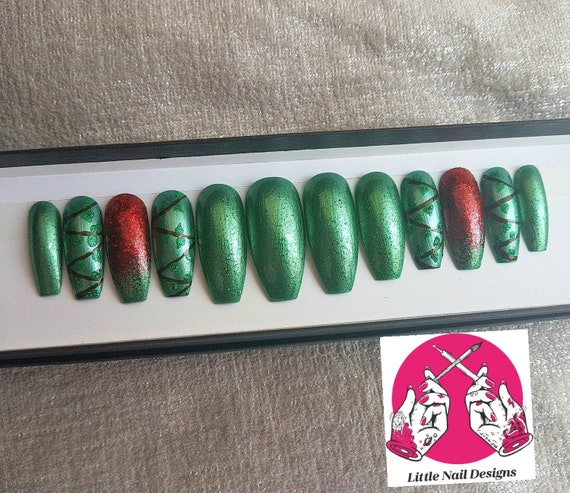 Poison Ivy Hand Painted False Nails Cosplay Halloween Etsy