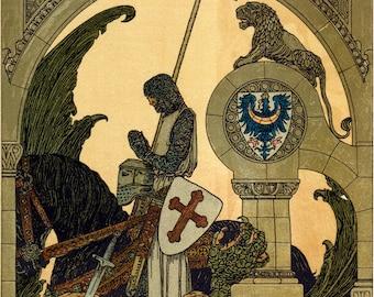 "St. George – 8.5x11"" – Heinrich Lefler – Catholic Art Print"