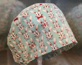 2bce32609f2 Bunny Rabbit Easter Womens Scrub Hat Cap