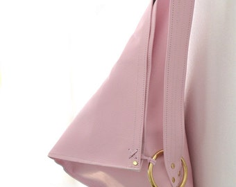 Trism Pastel Pink Shoulder Bag - 100% leather