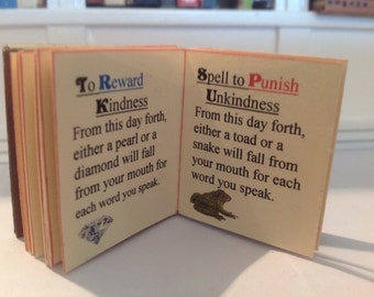 FAIRYTALE SPELLS; miniature book illustrated with words of magic  spells; 22 pages; available in 2 sizes