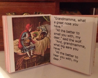 Little Red Riding Hood, minature, readable hard cover book; One sixth and one twelfth size available.