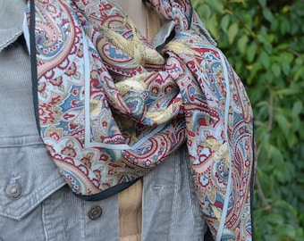 "Vintage 100% Silk Square Scarf // Muted Paisley Pattern // Ducks // ""Bloomsbury"" // Spring Scarf // Gift for Her"