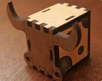 Music box, hand crank interlocking wooden music box, DIY  - Ox