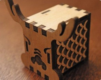DIY Music box, hand crank interlocking wooden music box, GREAT GIFT ( Dragon )