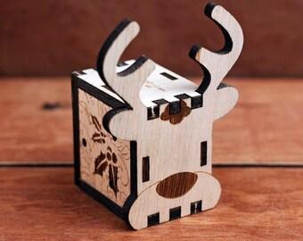 Music Box, Hand crank interlocking wooden music box, DIY - Great Gift (Elk)