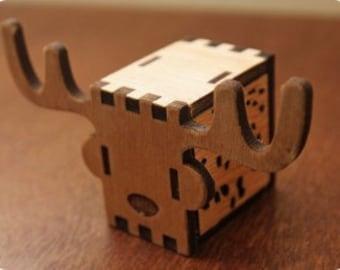 Music box, hand crank interlocking wooden music box, DIY - GREAT GIFT ( Deer )