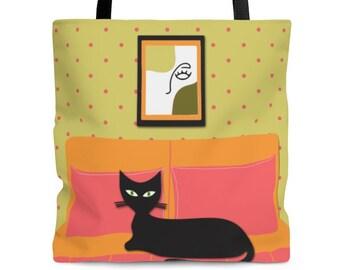 Mom Tote Bag Grocery Bag Beach Bag, Utility Tote, Dog Mom Tote Bag, Plant Tote Bag, Bright Color Atomic Cat