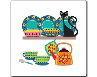 Kitchen Decor Dishwasher Magnet, Mod Cat Funny Home Decor, Atomic Age Fun Fridge Magnets, Cute Gifts