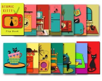 Black Cat Quirky Decor, Kitchen Art, Books for Cat Lovers, Book Stack Decor, Kitchen Gift, Kitchen Decor