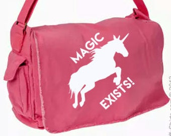 Magic Exists! Unicorn Messenger Bag, Hand Screen Printed Cotton Canvas Messenger Bag, Computer Bag,