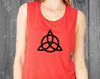 Triquetra Flowy Tank- Trinity Wiccan Symbol Women's muscle tee