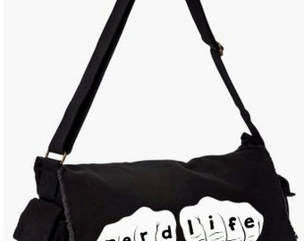 Nerd Life Messenger Bag, Hand Screen Printed Cotton Canvas Messenger Bag,  Messenger Bag, Computer Bag,