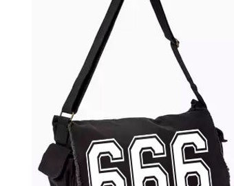 666 Evil Messenger Bag, Hand Screen Printed Cotton Canvas Messenger Bag,  Messenger Bag, Computer Bag,