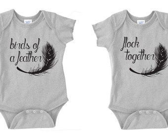Twins Baby Bodysuit Set- Birds of a Feather Flock Together, Twins