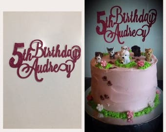 Personalised Glitter Cake Toppers (Font 9)